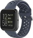 Gransho Armband kompatibel mit Fitbit Versa 2 / Versa/Versa Lite, Silikon Sportarmband Uhr Band Strap Ersatzarmband Uhrenarmband (Grau)