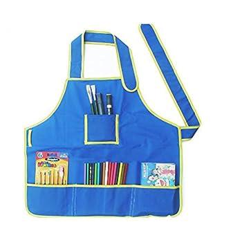 Foxnovo Children Kids Waterproof Art Craft Apron Smock for DIY Painting Drawing  Blue