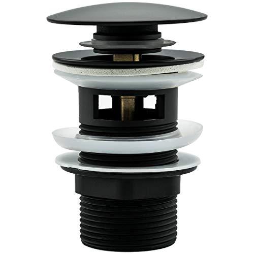 Frap Waschbeckenstöpsel Universal Ablaufgarnitur für Waschbecken/Waschtisch Pop-Up Ventil mit/ohne Überlauf, Abflussstopfen für Waschbecken, Abflussgarnitur Werkzeugloser Einbau, Schwarz
