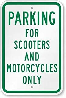Ohuu Parking for Scooters and Motorcycles Only Sign Safety Sign 8x12 Tin Metal Signs Road Street Notice Sign Outdoor Decor Caution Signs