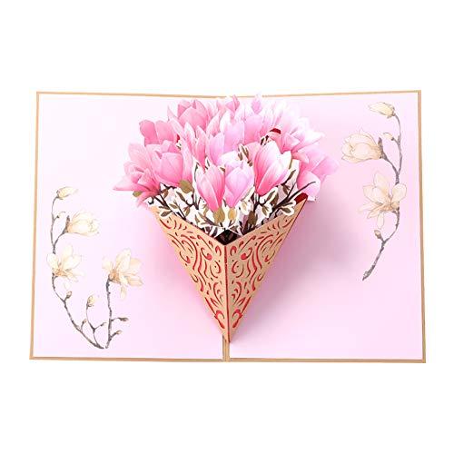 Meigold 1 Stück Blumen-Geburtstagskarte, Pop-Up-Premium-Glückwunschkarten mit Umschlag für die meisten Anlässe, Muttertagskarte/Geburtstagskarte/Romantikkarte/Jahrestag/Valentinstag without word