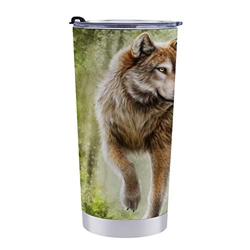 Taza de viaje con diseño de lobos para pintura artística, vaso de café de 20 onzas que mantiene frío o caliente para mamá, papá y niños, vacaciones navideñas.
