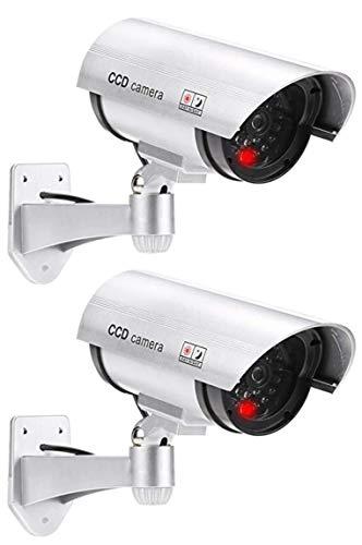 2 cámaras de vigilancia profesionales falsas para exteriores, con objetivo y vídeo de vigilancia intermitente