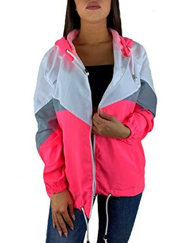 Worldclassca Damen Windbreaker Jogging Fitness ÜBERGANGSJACKE Kapuze Festival Jacke Block Blouson Kapuzenjacke Bomberjacke Retro Kontrast Farbe REIßVERSCHLUSS Zip Blogger XS-XL NEU (S, Pink)
