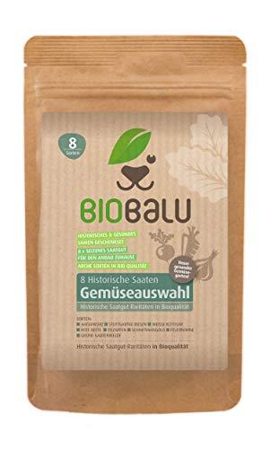 Biobalu Gemüsesamen Bio | 8 Alte Sorten | Historisches Saatgut Set Gemüse | Saatgut Raritäten in Bioqualität | Samenfeste & Seltene Gemüsesorten für Freiland, Gewächshaus & Balkon | Geschenkset