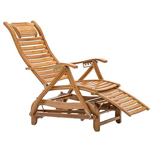 LLSS Silla Mecedora de bambú Sillón Mecedora para Descansar Silla de Cubierta para Adultos Silla reclinable Relajante Tumbona Asiento de bambú para Interiores y Exteriores Car