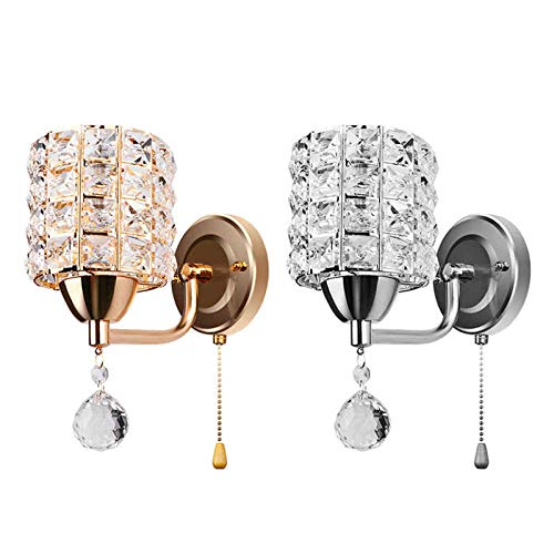 Moderne wandhouder met kristallen houder en hanglamp voor wandlampen zilver_31-40W_Cool_White (5500-7000K)