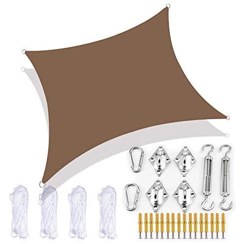 Pillowcase Toldo de Vela de Sombra de jardín, toldo de Patio de Playa Rectangular con Kit de fijación, 300D Impermeable 98% Bloque UV para Exteriores, marrón, 4X6M