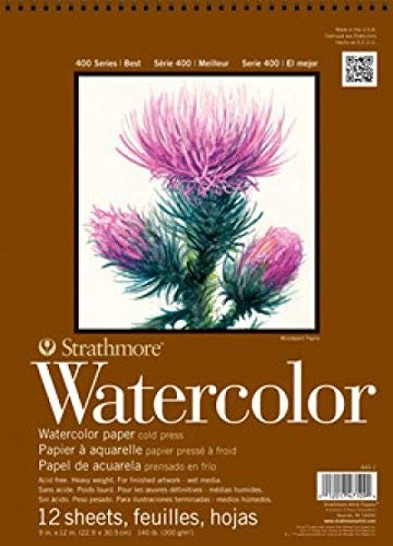 Strathmore (298-112 400 Series Watercolor Pad, Cold Press, 12'x12', 12 Sheets