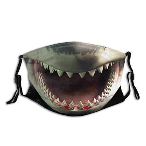 2 PCS Shark Teeth Cloth Mask with Filter Pocket Washable Reusable Face Bandanas Balaclava