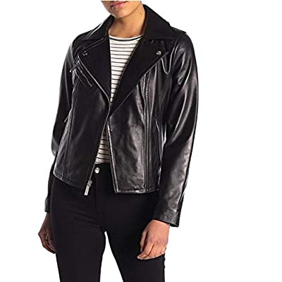 Michael Kors Women's Moto Leather Jacket (Small, Black)