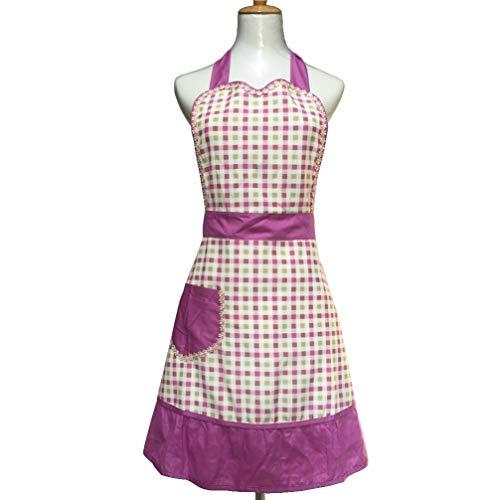 Hyzrz Lovely Sweetheart Retro Kitchen Aprons Woman Girl Cotton Cooking Salon Pinafore Vintage Apron Dress with Pocket,Purple