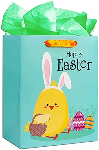 WaaHome Easter Gift Bag with Handle 13 x10 5 x5 8 Large Easter Chick Egg Bunny Gift Bags with product image