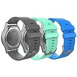 MoKo 3 Pack Correa Compatible con Garmin Vivoactive 3/Forerunner 245/Bip/GTS/GTS 2/2 Mini/Galaxy Watch 4/4 Classic/3 41mm/Active 1/2, 20mm Pulsera de Repuesto de Silicona, Gris/Gema Verde/Azul Cielo