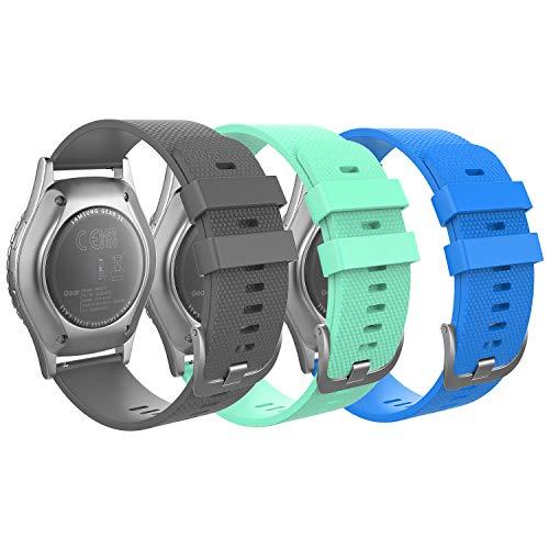 MoKo Correa Compatible con Garmin Vivoactive 3/Galaxy Watch 42mm/Galaxy Watch 3 41mm/Galaxy Watch Active/Active 2/Gear S2 Classic/Huawei Watch GT/GT 2 42mm, 20mm Pulsera-Gris y gema verde y azul cielo