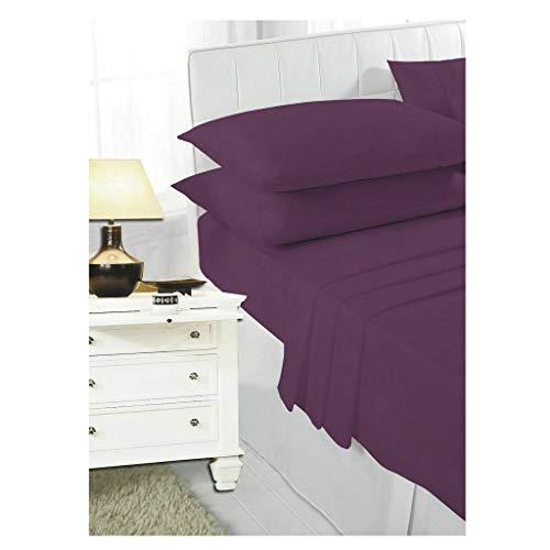 COTONWIZE Plum Non Iron Percale Single Bed Fitted Sheet 100% Poly Cotton Single Bed Sheet, Kids Single Bed Cotton Single Fitted Sheet, Single Beds Sheet Polycotton Fitted Sheet