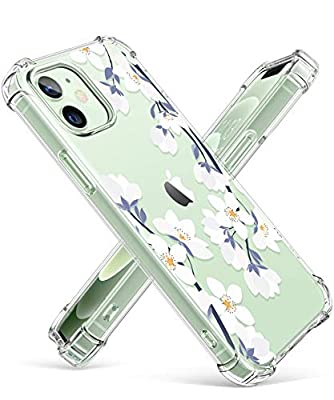 GVIEWIN Clear Floral Case Compatible with iPhone 12 and iPhone 12 Pro 6.1 Inch 2020, Soft & Flexible TPU Shockproof Cover Women Girls Flower Pattern Phone Case (A-Windflower/White)