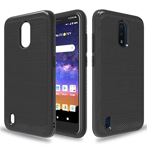 Wtiaw:Nokia C2 Tava Case,Nokia C2 Tennen Case,Nokia C2 Tava Phone Case,Material Brushed Metal Texture Hybrid Dual Layer Defender Case for Nokia C2 Tava-HL Black