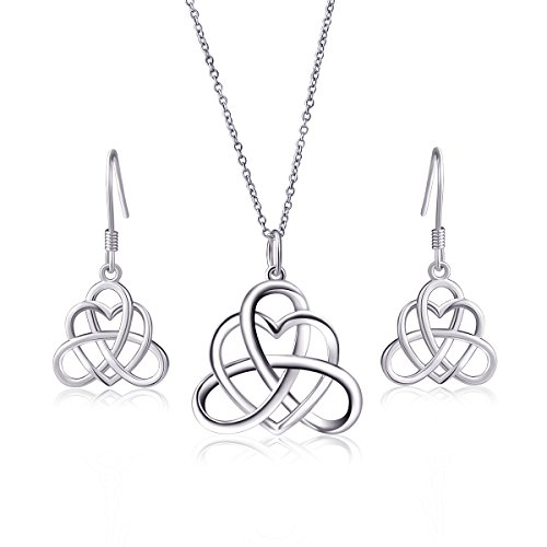 925 Sterling Silver Good Luck Vintage Irish Triquetra Celtic Knot Heart Pendant Necklace and Earrings Jewelry Set for Women Girls Bridesmaid Girlfrind Gift