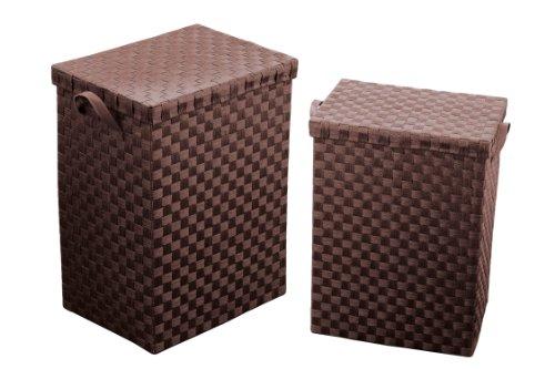 Premier Housewares 1900779 Wasmanden van gevlochten papier, met handgrepen, 2 stuks, bruin, 30x41x55