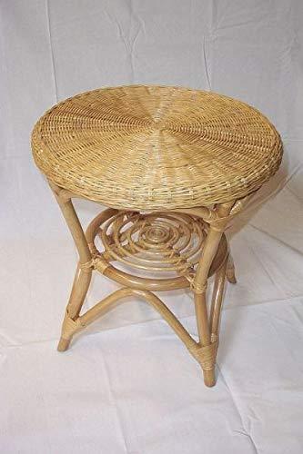 Rattan Tisch Sofatisch Rattanmöbel Ablage Rund Honig Couchtisch Beistelltisch