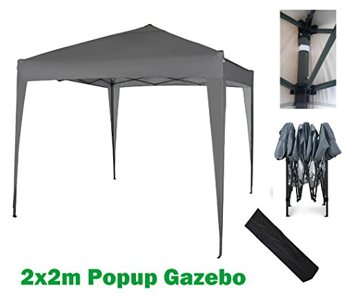 MCC@home 2x2m Pop-up Gazebo Waterproof Outdoor Garden Marquee Canopy (NS) (Grey)