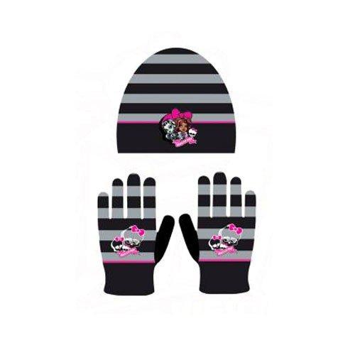 Bonnet et gants Monster High coloris noir Taille unique