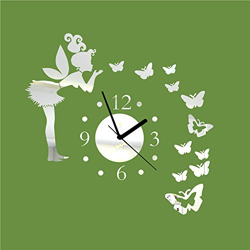 FortuneVin Ebay.pequeño Reloj acrílico Fairiesdiymirror(B40A) Reloj de Pared operado por baterías Modernos Relojes Colgantes
