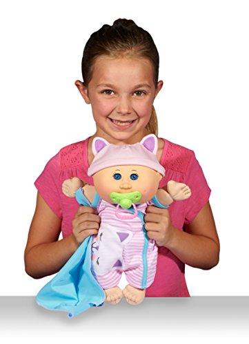 Cabbage Patch Kids 12.5' Naptime Babies - Bald/Blue Eye Girl Baby Doll (Pink Stripe Jumper Fashion)