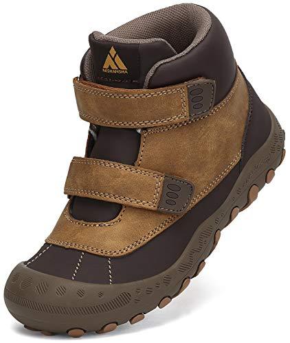 Mishansha Trekkingschuhe Kinder Wanderschuhe Mädchen Leicht rutschfeste Outdoorschuhe Klettverschluss Freizeit Schuhe Braun Gr.25
