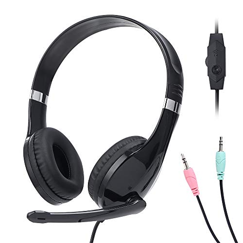 Baseman On Ear Headphones with Mic, Adjustable Volume and Headband, Stereo Headsets for Meeting Conference Phone Call School Class for PC Computer Black