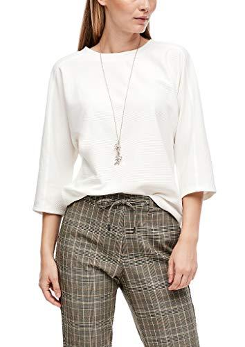 s.Oliver Damen Sweatshirt mit Rippstruktur Cream 40