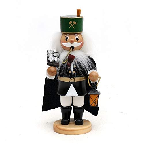 Deko-Geschenke-Shop 17 cm Räuchermann Räucherfigur Bergmann mit Erzbrett aus Holz farbig