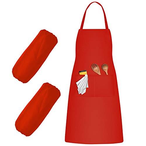 Delantal de Cocina, Delantales de Cocinero y Manga, Delantal Trabajo y 2 Bolsillos para Hombres & Mujeres, Delantal Chefs para Hornear Jardinería Barbacoa Restaurante (Rojo)