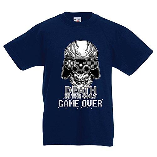 lepni.me Camiseta para Niño/Niña Game Over - Juego Terminado, Jugador de Calavera, Esqueleto, Regalo Divertido, Citas de Juegos