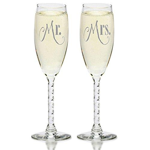Mr. & Mrs. Silver Champagne Flutes - Wedding Glasses For Bride & Groom - Toasting Gift Sets - For Couples - Engagement, Wedding, Anniversary, House Warming, Hostess Gift