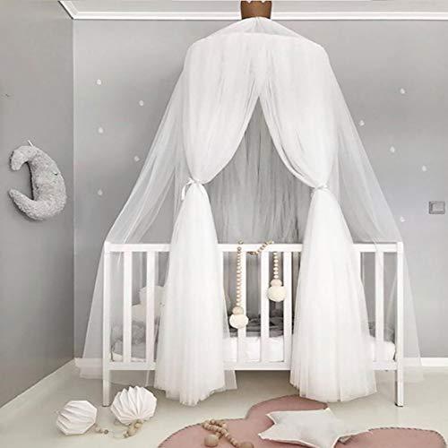 Topelec Auvent de lit de princesse rond en dentelle Moustiquaire de jeu Tente de jeu à suspendre Décoration de maison en dentelle Rideaux d'intérieur pour bébé enfants Blanc