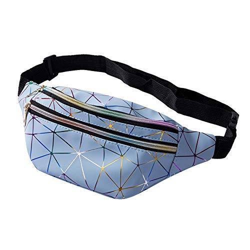 Geagodelia Bauchtasche Gürteltasche für Damen Mädchen Stylische PU Hüfttasche mit Verstellbarer Gurt für Reise Wandern Outdoor Festival FB17991 (Hellblau)