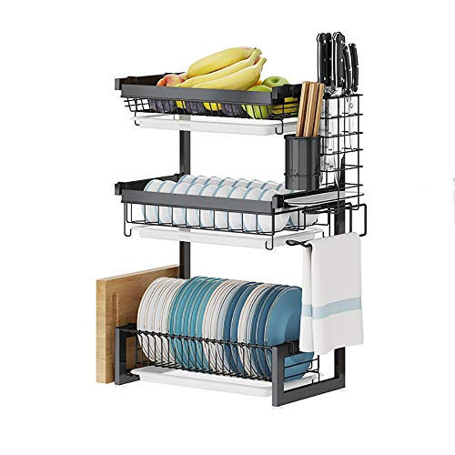 UG1 Dish Rack and Drainboard Set, 3-Layer-Stainless Steel Countertop Drain Rack, Drying Bowl, Knife and Fork, Plate, with Cutting Board Rack +3Hook