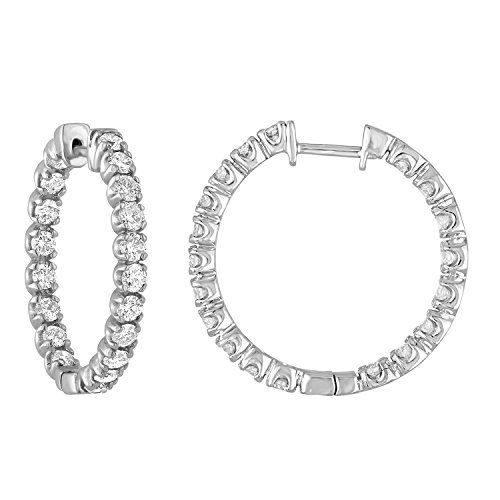 3 cttw 14K White Gold Diamond Inside Out Hoop Earrings - $1,399.97 (42% Off)