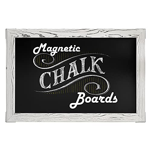 Loddie Doddie Magnetic Chalkboard - Easy-to-Erase Large Chalkboard for Wall Decor and Kitchen - Hanging Black Chalkboards (20x30, White Rustic Frame)