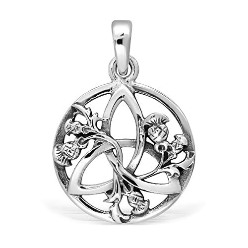 WithLoveSilver 925 Sterling Silver Celtic Round Triquetra Scottish Thistle Pendant