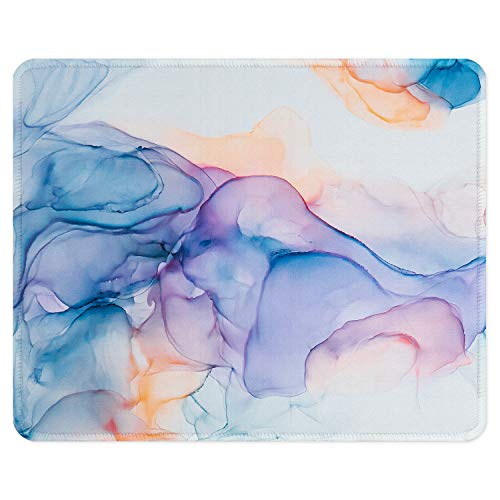 ITNRSIIET Gaming Mouse Pad with Stitched Edges, Premium-Textured Mouse Mat Pad, Non-Slip Rubber Base Mousepad for Laptop, Computer & PC, 10.2×8.3×0.12 inches, Blue Modern Marbling
