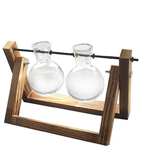 YepYes Desktop-Pflanzer Glas Hüllkolbenlampe Vase Terrarium Air-Pflanzer mit Vintage-Holzständer für Hausgarten-Büro-Dekoration