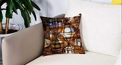 Square Soft and Cozy Pillow Covers,Marroquí, farolillos árabes Zoco Cultura nocturna Destinos turísticos históricos, azul y verde,,Funda para Decorar Sofá Dormitorio Decoración Funda de almohada.