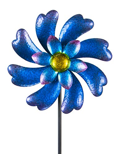 """MUMTOP Wind Spinner 45"""" Wind Sculptures for Patio Lawn and Garden Let You Feel Different Visual Effects and Relax Your Mood (Blue)"""
