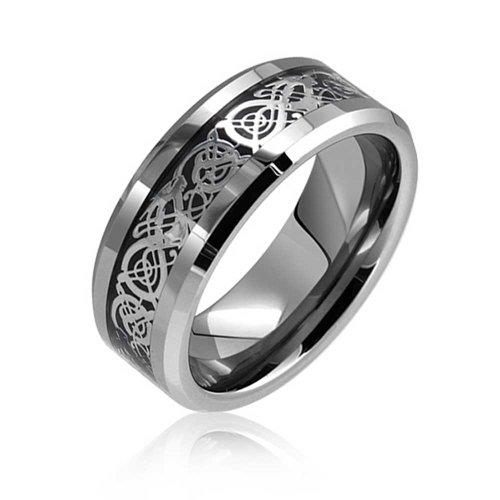 Bling Jewelry Schwarz Silber Keltisch Knoten Drachen Inlay Paare Hochzeit Band Tungsten Ringe Für Herren Für Damen Comfort Fit 8 MM