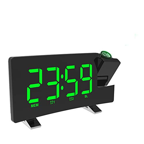 Radio despertador FM con proyector, pantalla LED de 8 pulgadas, alarma dual, conexión USB, despertador digital LED, 2 modos de alarma, proyector de 180°, volumen de 0 a 10 niveles, 3 brillos