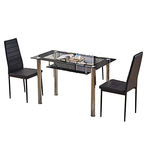Ansley&HosHo Black Glass Dining Table and Chairs Set of 2 for Small Kitchen Dinette 3 Piece Contemporary Tempered Glass Rectangular Table and 2 Black Faux Leather Chairs for Dinette Space Saving