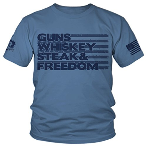 Armed American Supply Guns Whiskey Steak & Freedom - Patriotic T-Shirt from